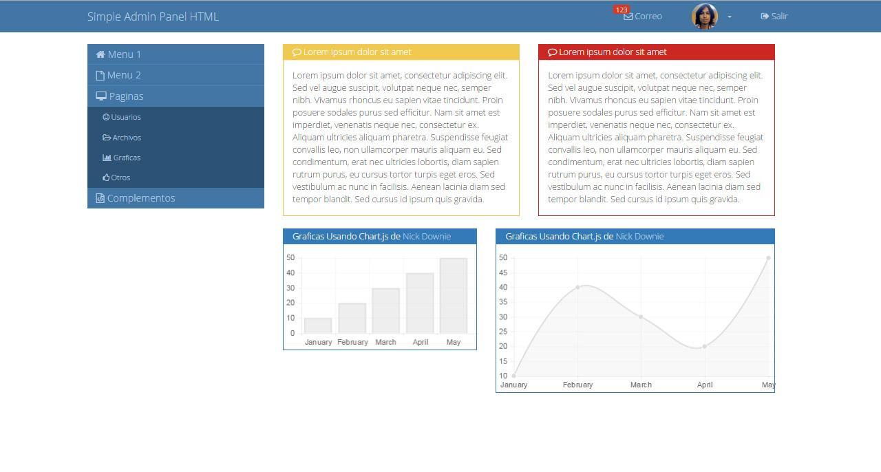 Simple Admin Panel HTML v1.0 – Plantilla Gratuita HTML5 & CSS3 ...